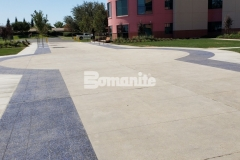 Approximately 6,000 square feet of Bomanite Revealed showcases a stunning selection of decorative aggregates and was installed at Valley Children's Hospital to provide a durable, cost-effective hardscape that collaborates well with the plantings, shrubs, and architectural detail.