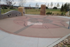 Various hardscape surfaces throughout Centennial Center Park feature Bomanite Sandscape Texture decorative concrete, which was chosen because it produces consistent texture and durability with natural non-skid properties and abrasion resistant aggregates.