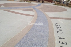Centennial Center Park features several Bomanite Systems that were expertly installed by our colleague Premier Concrete Services to create the hardscape surfaces throughout the park, including Bomanite Imprint Systems, Bomanite Sandscape Texture, and Bomanite Revealed, which all combined perfectly to add intricate detail and distinct design features.