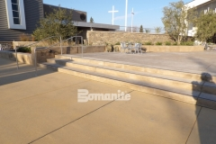 Bomanite Sandscape Texture decorative concrete was expertly installed here to create an eye-catching courtyard area that provides durability and adds a cohesive look to establish balance between the various exterior spaces.