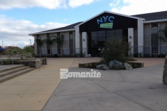 Distinctive design was incorporated into this Bomanite Sandscape Texture decorative concrete hardscape and the beautiful features add balance and consistency across the campus of CrossCity Christian Church.