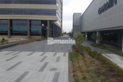 Bomanite Sandscape Texture decorative concrete was combined with Cobblestone Gray, Nickel Gray, and Natural Gray Bomanite Con-Colors to add color, pattern, and texture to the hardscape surface and create beautiful visual appeal.