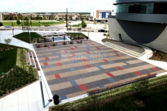 Featured here is Bomanite Sandscape Texture decorative concrete that was installed with various shades of Bomanite Con-Color that complement each other perfectly to create a unique pattern that is beautifully distinctive.