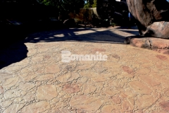 This stunning decorative concrete was created using Bomanite Imprint Systems and the Bomacron Garden Stone pattern and this hardscape surface will provide protection from the outdoor elements and durability to stand up to the toughest traffic loads.