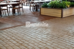Bomanite Belgium Block imprinted concrete was meticulously and precisely placed here to achieve a calculated and consistent look that blends into the rustic environment at the Gaylord Rockies Resort & Convention Center.