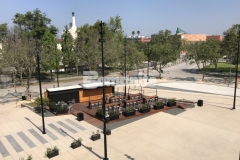 """Bomanite Bomacron imprinted concrete was expertly installed here by our colleague, Bomel Construction Company, using the 11.5"""" Boardwalk pattern to create a contrasting gray walkway that is beautifully distinctive and adds character and charm to the Northwest Plaza entrance at LAFC Stadium."""