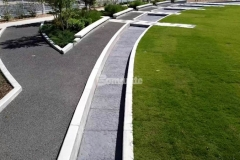 Owasso's Redbud Festival Park features Bomanite imprinted concrete that was installed by our associate Bomanite of Tulsa, Inc. to create a water feature and splash pad that emulate riverbed rock, which was achieved by using the Bomacron Chipped Shale pattern in Cobblestone Gray and the finished product is a beautiful enhancement to this community park.
