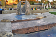 The Bomacron 12-inch Boardwalk pattern is featured on this Bomanite Imprint Systems stamped concrete bridge that was installed by our colleague Belarde Company to provide a unique playground feature in this interactive play area at Downtown Bellevue Park.