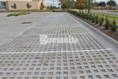 Bomanite Grasscrete was installed here by our associate, Texas Bomanite, using biodegradable Molded Pulp Formers and crushed stone to fill the voids to create a decrease in the overall impervious percentage on the site and allow for proper stormwater drainage.