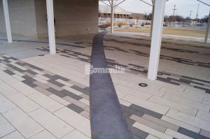 Covered farmers market area closer view of pattern decorative concrete at the Owasso Redbud Festival Park in Owasso, OK, installed by Bomanite of Tulsa.