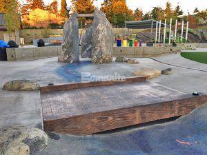 Splash Pad at Downtown Bellevue Park Designs Inspiration Playground using Bomanite Decorative Concrete from Belarde Company, Washington forming a Concrete Bridge for the Splash Pad.